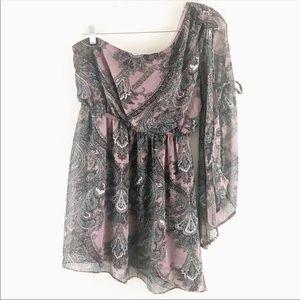 Cecico One Shoulder Bell Sleeve Purple Dress L